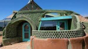 Rammed earth tire home in New Mexico